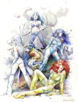 X-Men Women Watercolor by rattlesnapper
