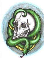 skull and snake by Bheliar