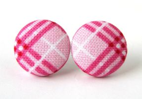 Pink white button stud earrings checkered plaid by KooKooCraft