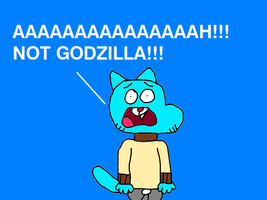 Gumball Watterson Scared of Godzilla! (Reversal) by MikeEddyAdmirer89
