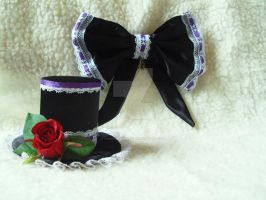 Lolita bow and hat by iamwinterborn