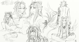Zelo re-design sketch page by cheasedragon