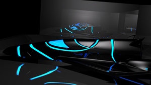 Spaceship showroom model (tron blue) by Mikey-Spillers