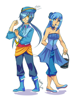 ++Manaphy and Phione Gijinka by Archy-tan