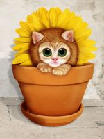 Kitten dressed as flower by webmartin99