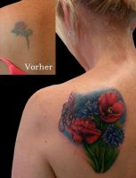 Flowers Coverup by Anderstattoo