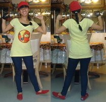 Me in this yellow Kabutack T-shirt and as a tomboy by Magic-Kristina-KW