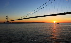 humber bridge at sunset by AMONstudios
