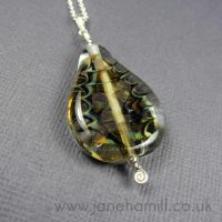 Holly Leaf lampwork pendant by janehamill