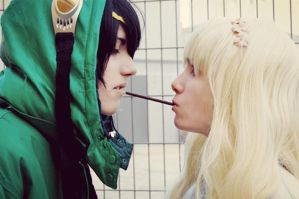 Seto and Mary pocky game Gif by Pepa-sama