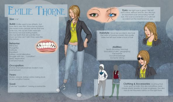 Emilie Thorne reference sheet by Xildaen