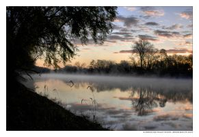Sunrise On Foggy River by BrianWolfe