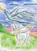 Unicorn and cloud dragon by Shells124