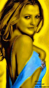 Drew Barrymore in gold #2 by Creativemohamedadel
