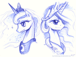 Luna and Celestia by KP-ShadowSquirrel