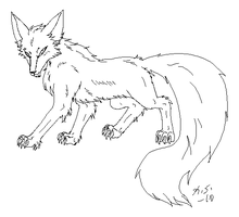 Free Kitsune lines one tail by The-Clockwork-Crow