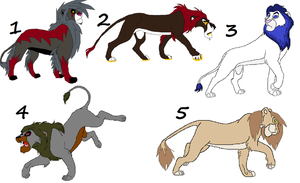 lion adoptables 4 by wolvesanddogs23