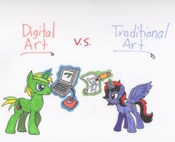 Digital vs Traditional by Piplup88908