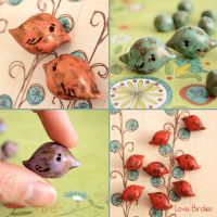Love Bird Polymer Clay Beads by popnicute