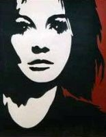 Stencil of staring girl by TEK13