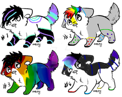 (OPEN) Rainbow Canine Adoptables/Auction by MishkaWolf