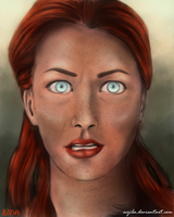 Facial expression study (colored) 01 by Nyila