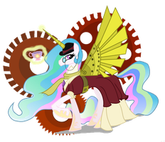 MLP: Steam Punk Celestia by StrixMoonwing