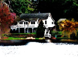 Cottage on the Lake by Alonewithmyself