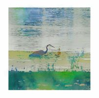 Heron WaterColor by PamplemousseCeil