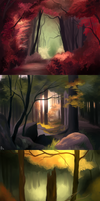 Environment studies - forests by LilyScribbles