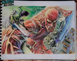 Attack on Titan drawing colossal titan by kaium724