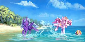 Luna And Celestia At The Beach by KP-ShadowSquirrel