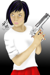 Agana Holding A Gun (Re-Draw) by Angie-Andrea