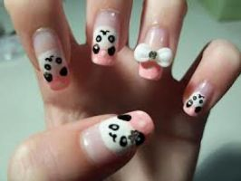 panda nails by DilaraLovesAnime