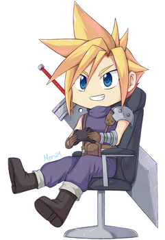 Cloud playing video games by Merum-SB-BlueOlimar