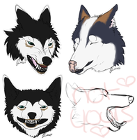 Wolf Headshot YCH Premades - 1 LEFT $2 by Inkumei