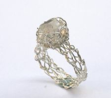 Herkimer Diamond Crochet Ring by WrappedbyDesign