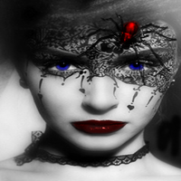 Black and White with hint of colour-Black Widow by DeviantGrace