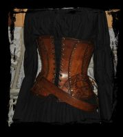 alchemist leather corset back view by Lagueuse