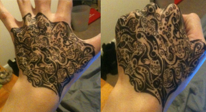 Abstract hand tattoo design finished by Mynamefa1ls