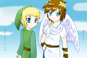 Toon Link and Pit - SSBB by MitsukoUchiha
