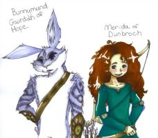 Bunnymund and Merida by NoxidamXV