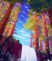 Forest Waterfall by BlindFoxy