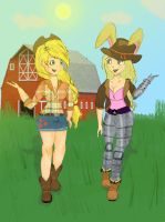 Applejack and Bunnie Rabbot: Country Pair by tokyoterrorart
