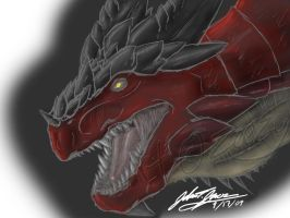 Red Earth Dragon .:Coloured:. by Zeezy