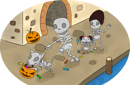 Skeleton, the Skinny Family (First Smile) by AnneFaizuani