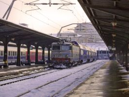 Winter train in Bucharest by ranger2011