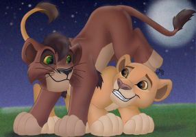 Sweet Innocent Kovu and Kiara by cowgirlem