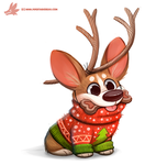 Daily Paint #1129. Christmas Eve...have a puppy! by Cryptid-Creations