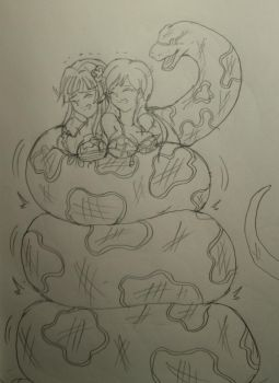 snake squeeze Shizuka and Shiho from Million Live by kaitakuan